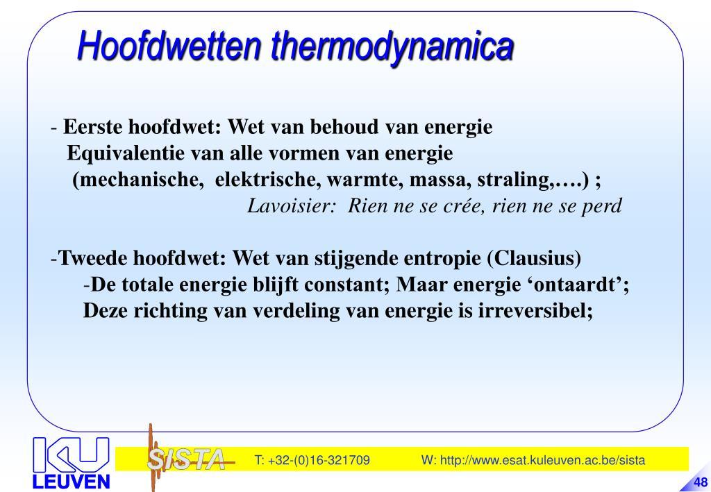 Hoofdwetten thermodynamica