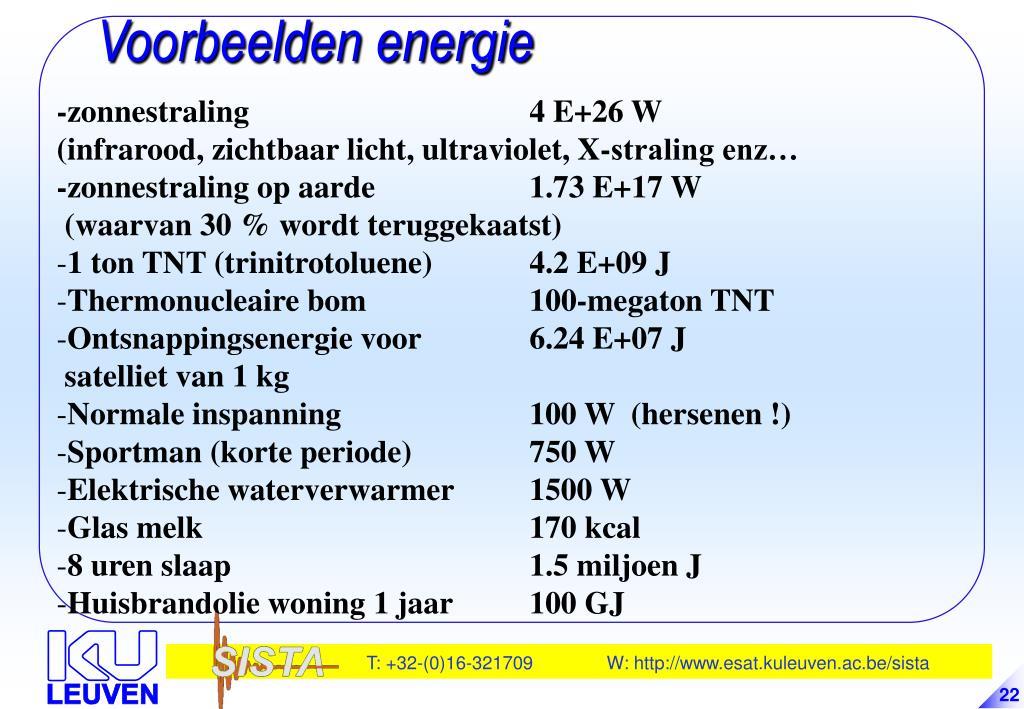 Voorbeelden energie
