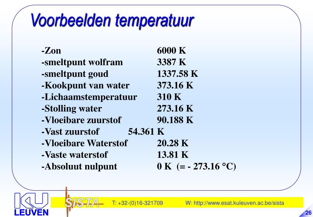 Voorbeelden temperatuur