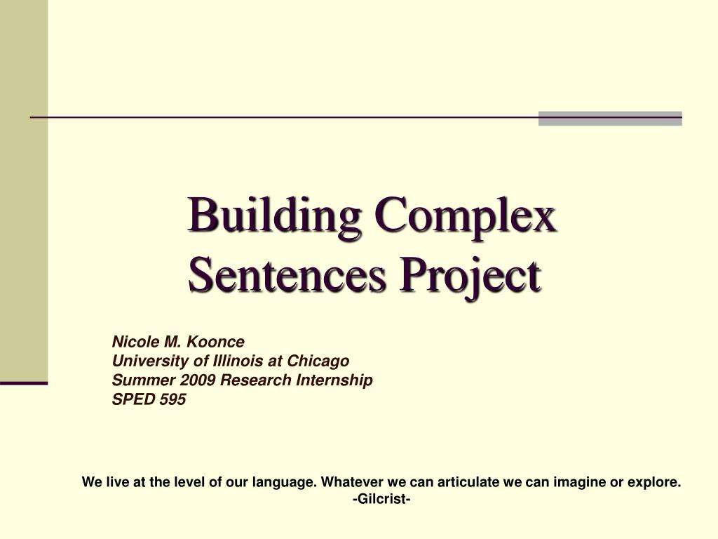 Building Complex Sentences Project