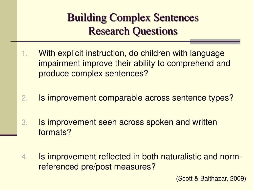 Building Complex Sentences