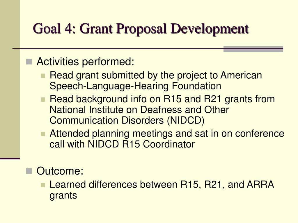 Goal 4: Grant Proposal Development