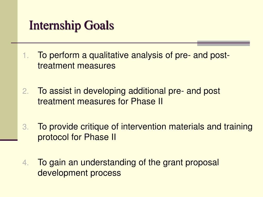 Internship Goals