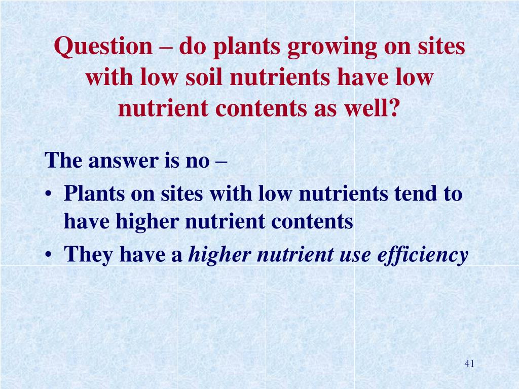 Question – do plants growing on sites with low soil nutrients have low nutrient contents as well?