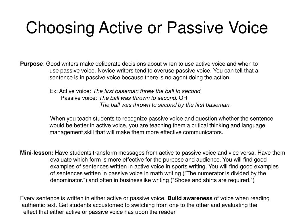 Choosing Active or Passive Voice