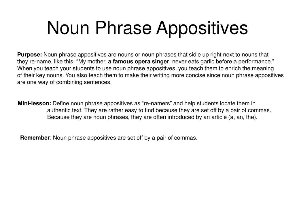 Noun Phrase Appositives