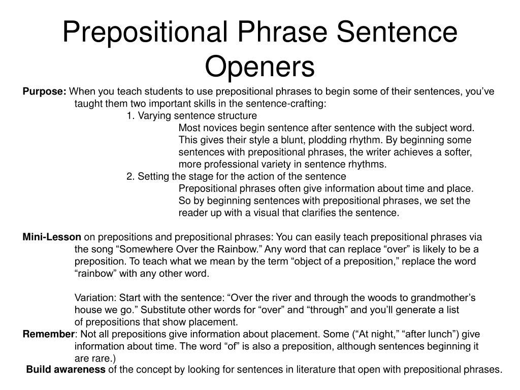 Prepositional Phrase Sentence Openers