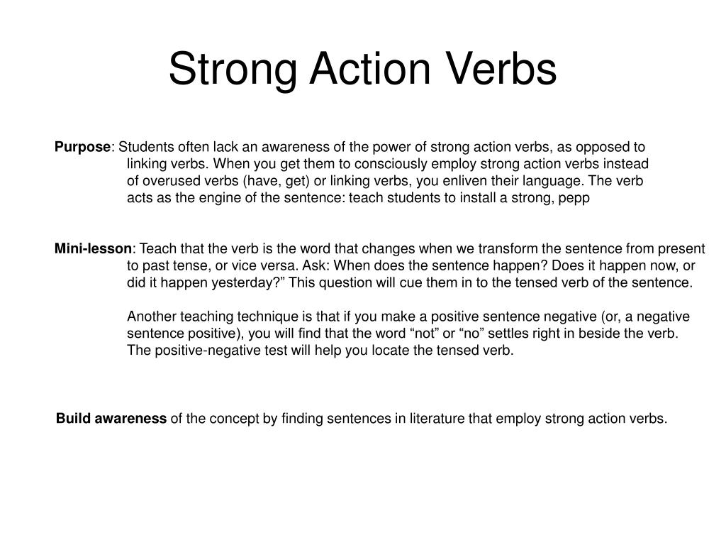 Strong Action Verbs