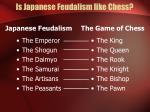 is japanese feudalism like chess