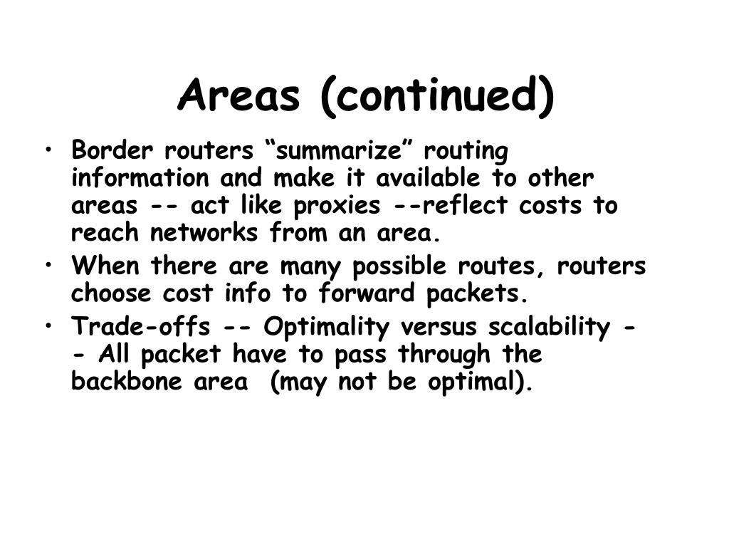 Areas (continued)