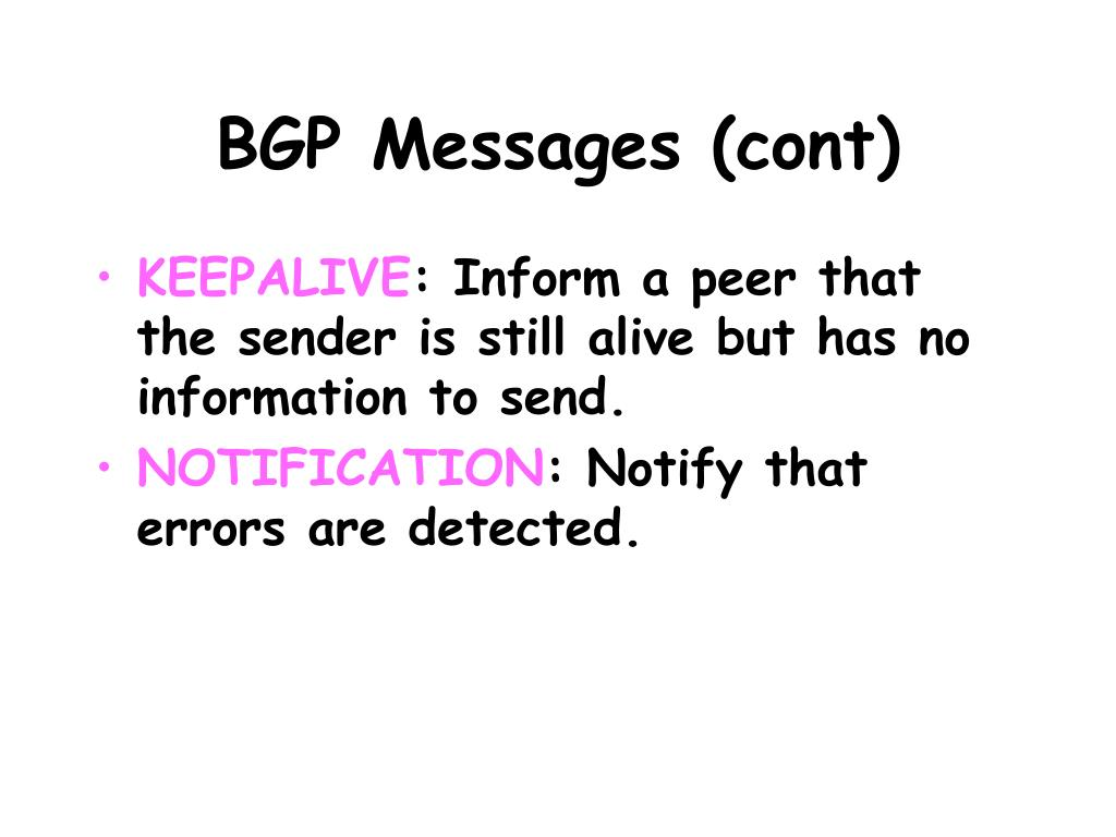 BGP Messages (cont)