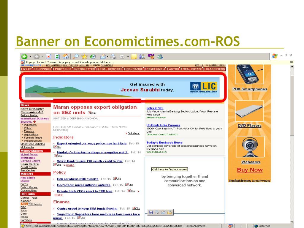 Banner on Economictimes.com-ROS