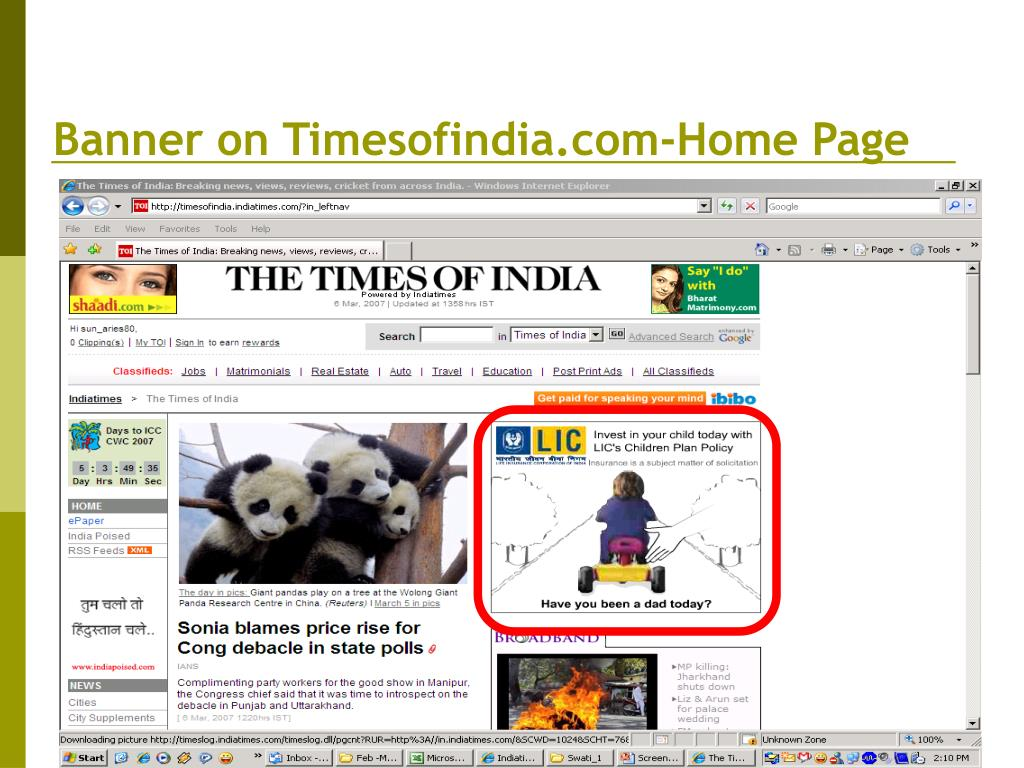 Banner on Timesofindia.com-Home Page