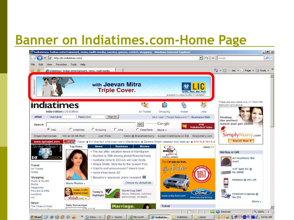 Banner on Indiatimes.com-Home Page