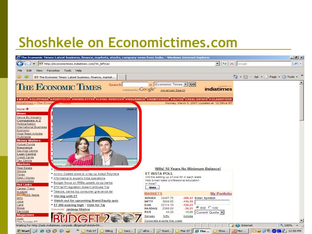 Shoshkele on Economictimes.com