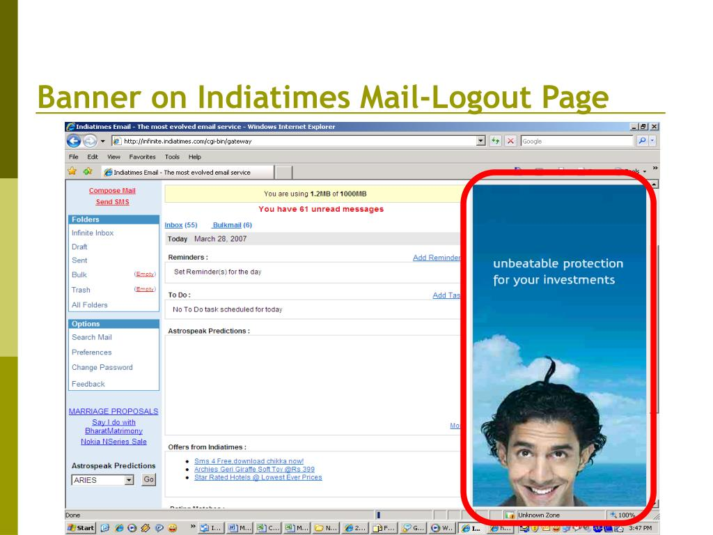 Banner on Indiatimes Mail-Logout Page