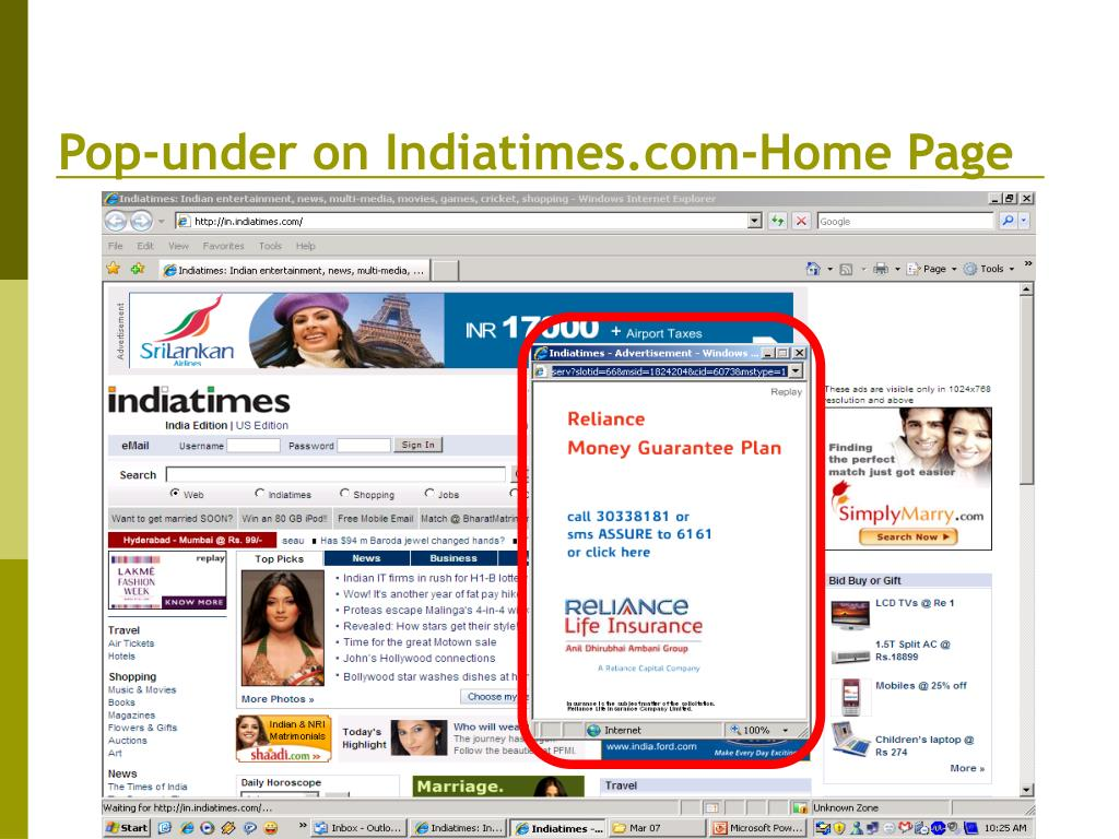 Pop-under on Indiatimes.com-Home Page