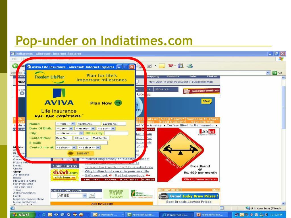 Pop-under on Indiatimes.com
