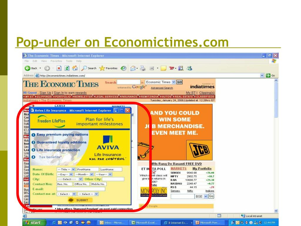 Pop-under on Economictimes.com