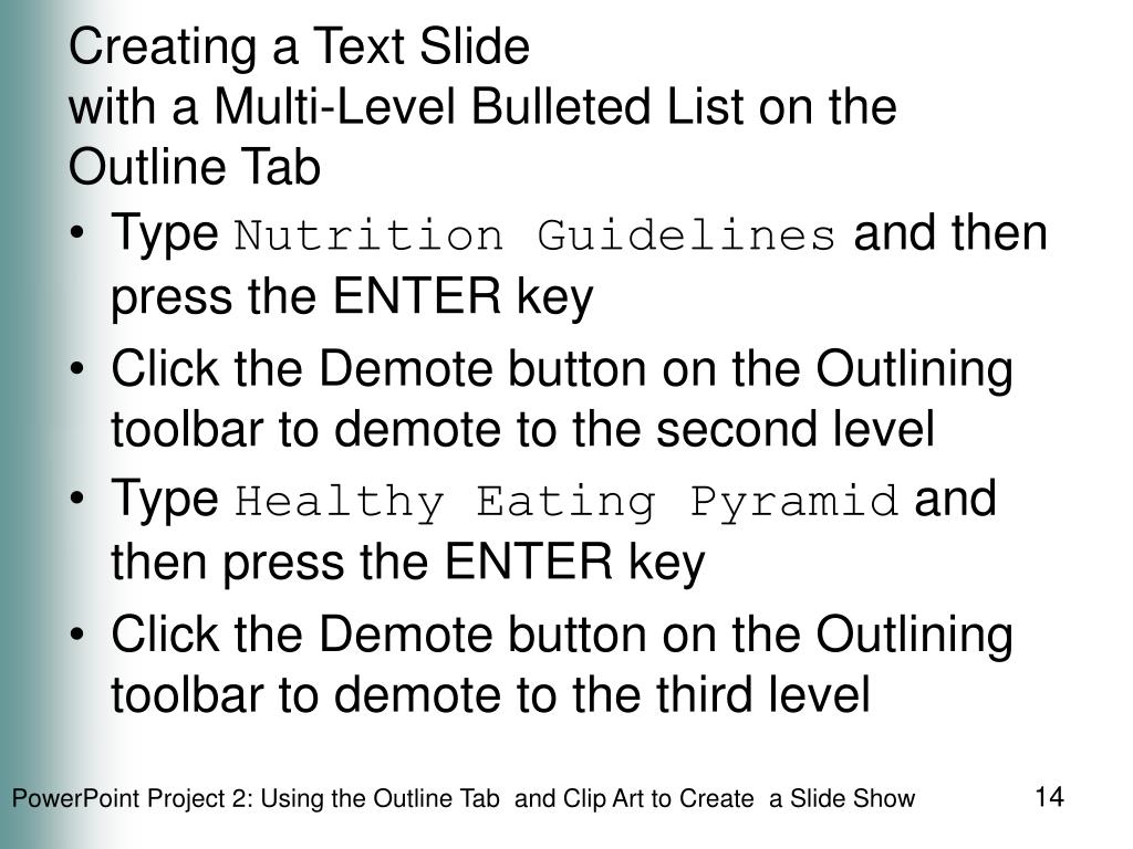 Creating a Text Slide