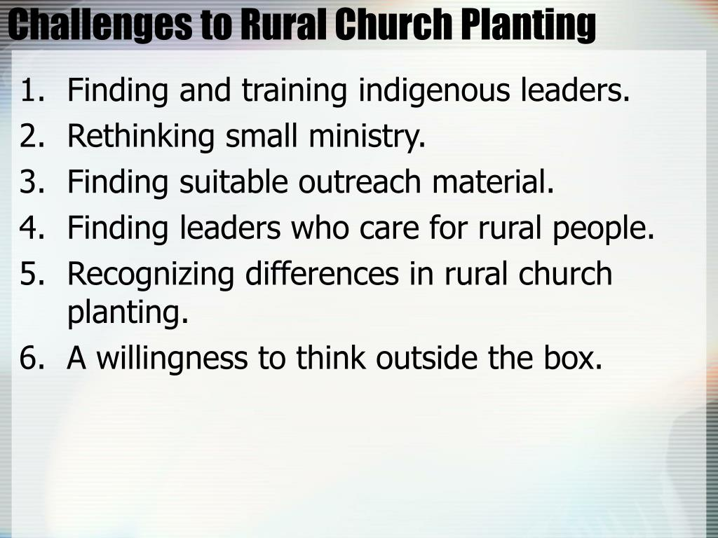 Challenges to Rural Church Planting