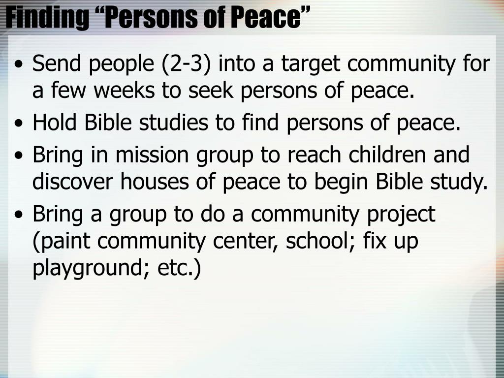 """Finding """"Persons of Peace"""""""
