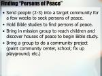 finding persons of peace
