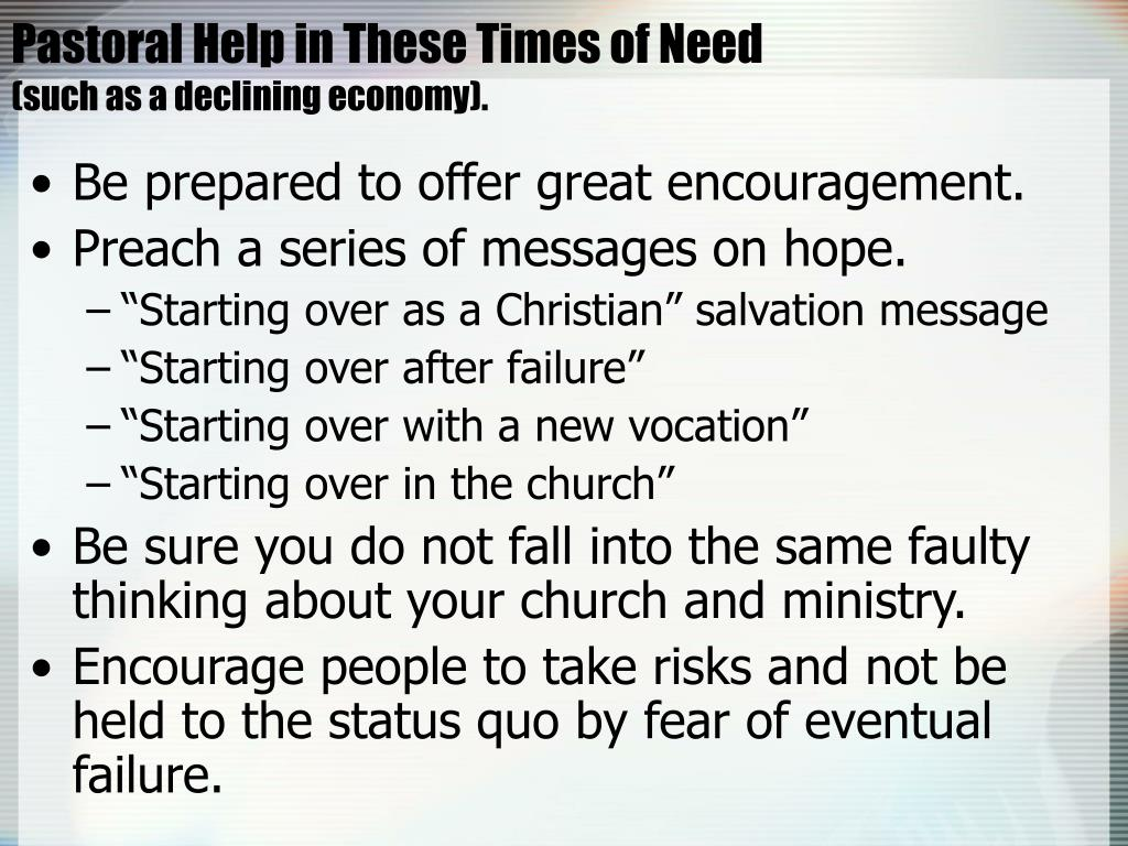 Pastoral Help in These Times of Need