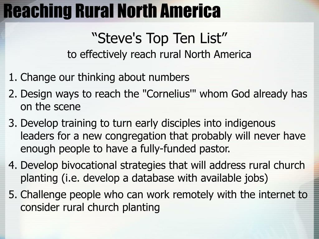 Reaching Rural North America