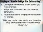 replay of how to bridge the culture gap