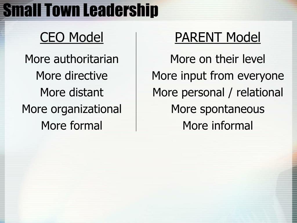 Small Town Leadership