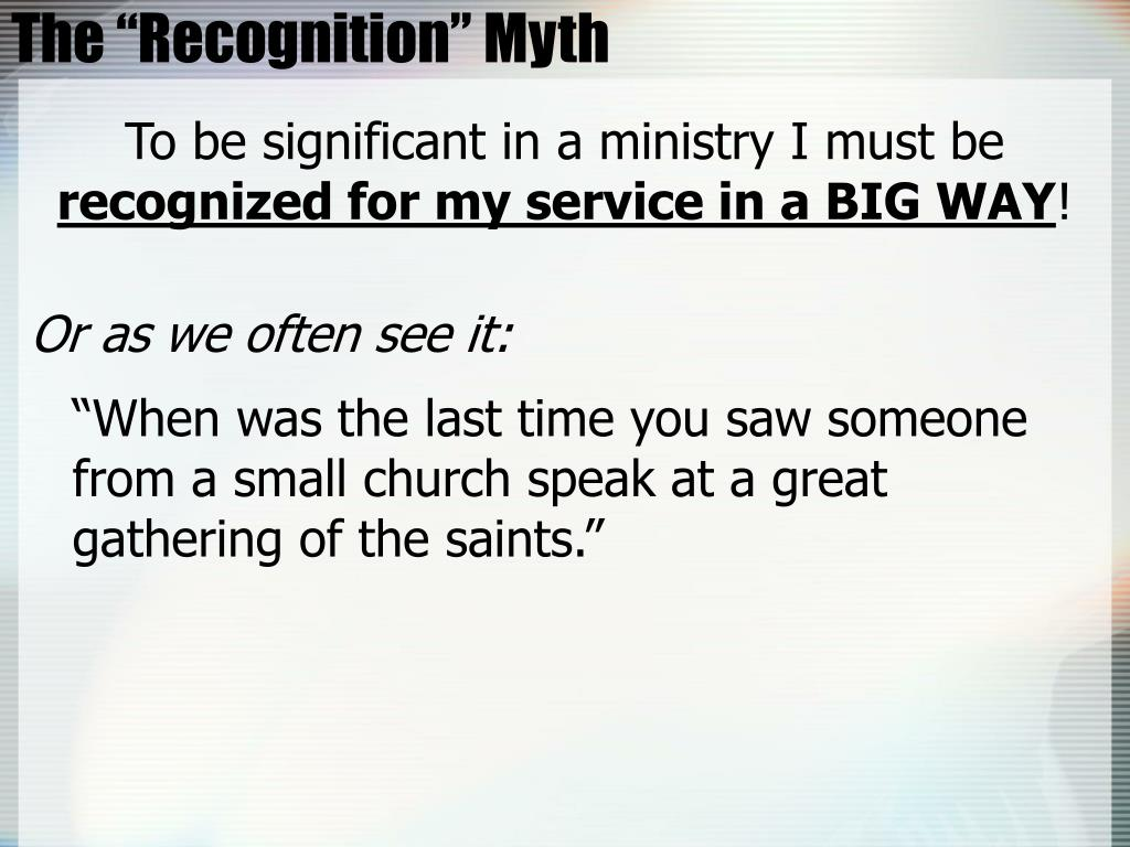 """The """"Recognition"""" Myth"""