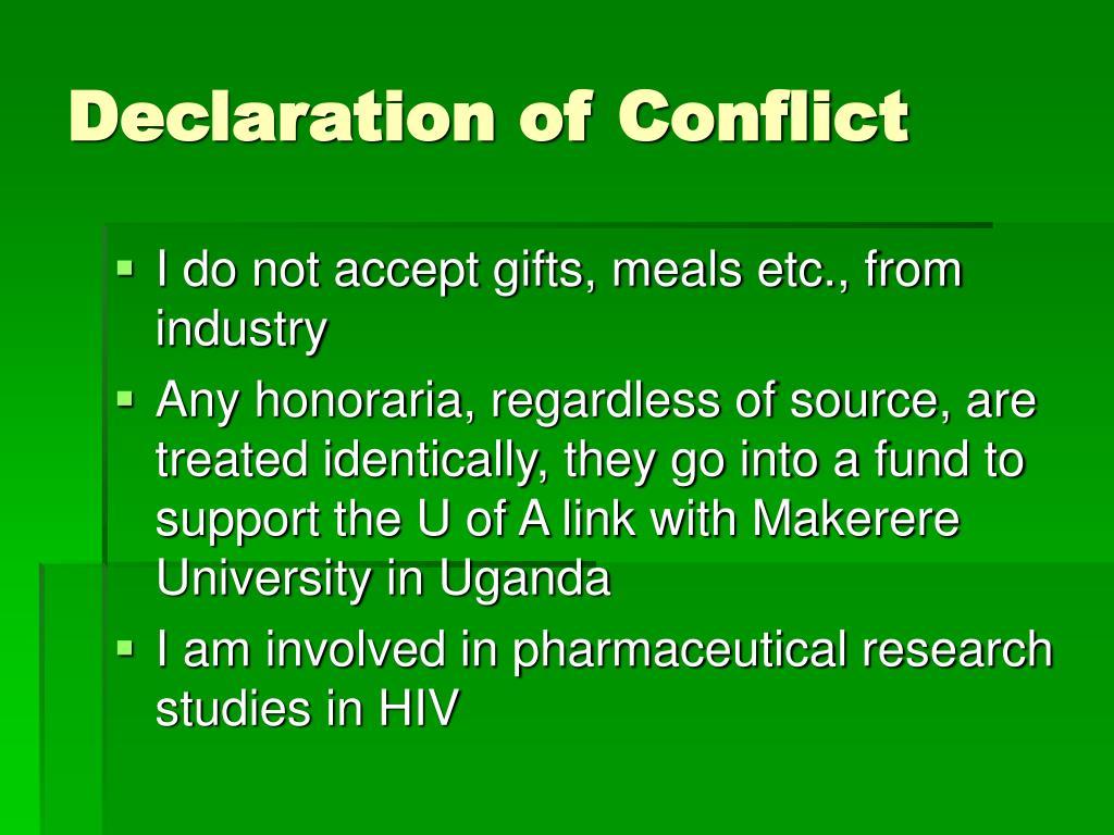 Declaration of Conflict