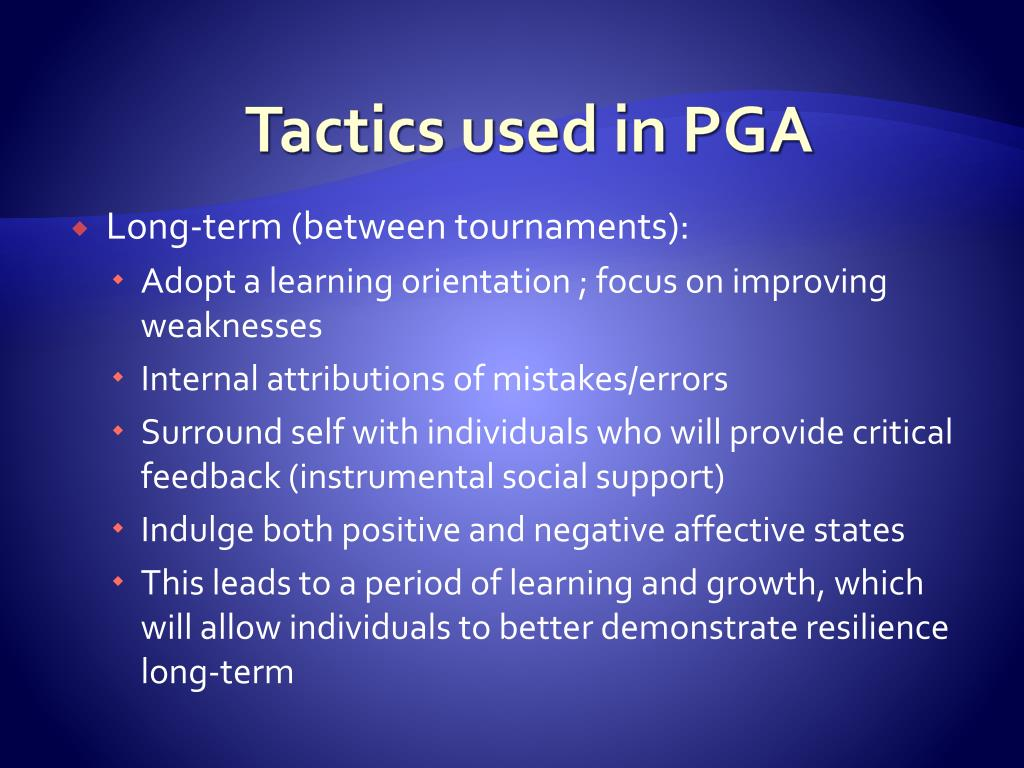 Tactics used in PGA