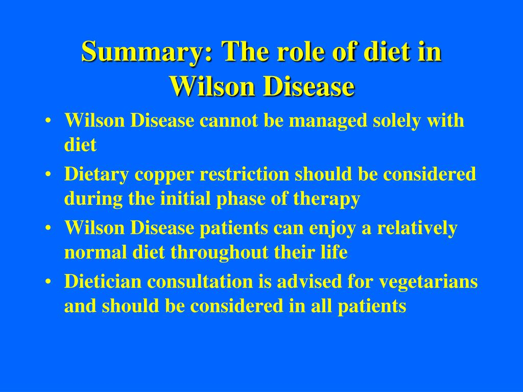 Summary: The role of diet in Wilson Disease