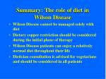 summary the role of diet in wilson disease
