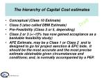 the hierarchy of capital cost estimates
