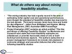 what do others say about mining feasibility studies