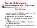 forms of advocacy their strengths and limitations13