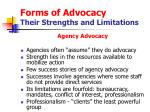 forms of advocacy their strengths and limitations15