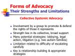 forms of advocacy their strengths and limitations16