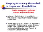 keeping advocacy grounded in hopes and possibilities20