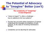 the potential of advocacy to imagine better con t11