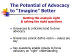 the potential of advocacy to imagine better
