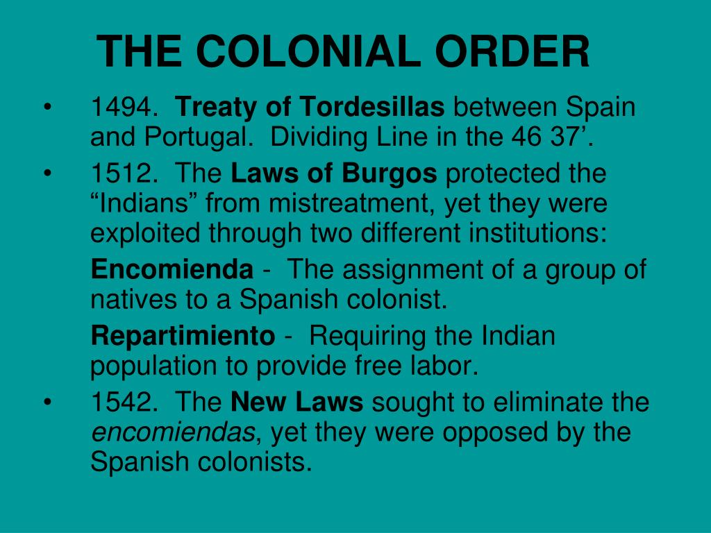 THE COLONIAL ORDER