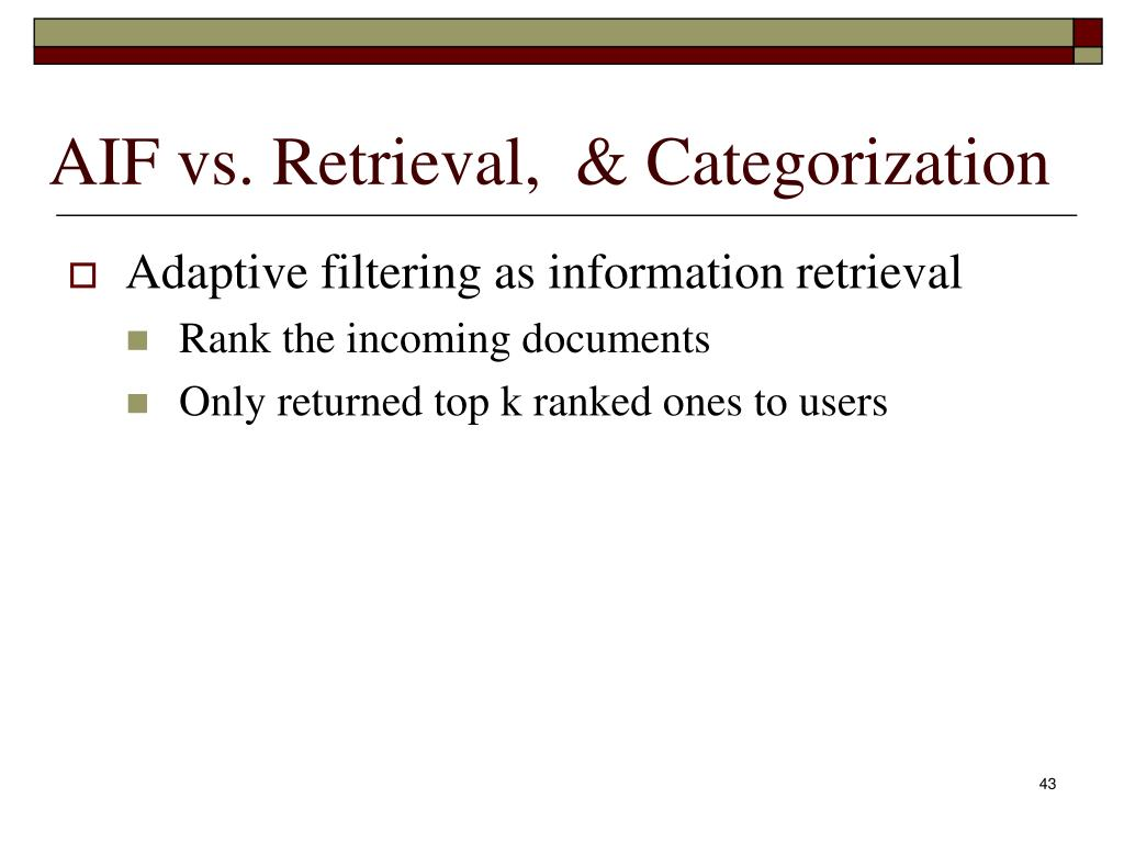 AIF vs. Retrieval,  & Categorization