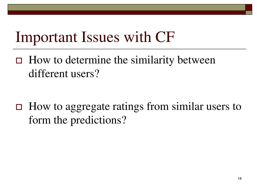 Important Issues with CF