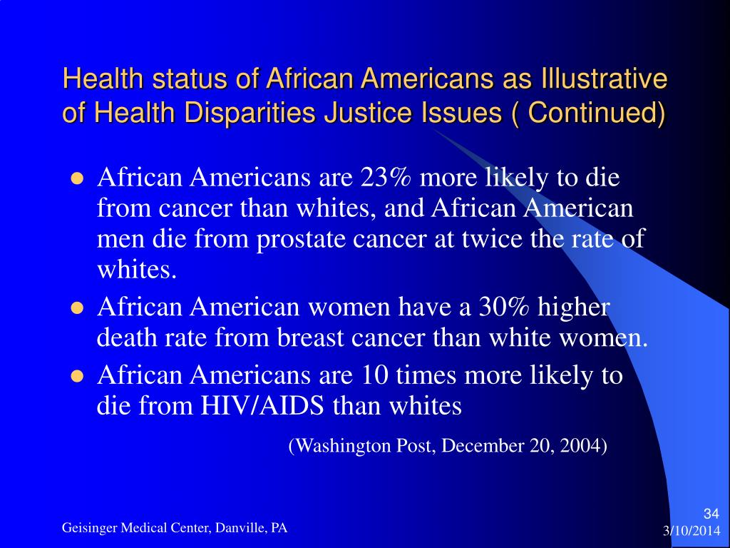 Health status of African Americans as Illustrative of Health Disparities Justice Issues ( Continued)