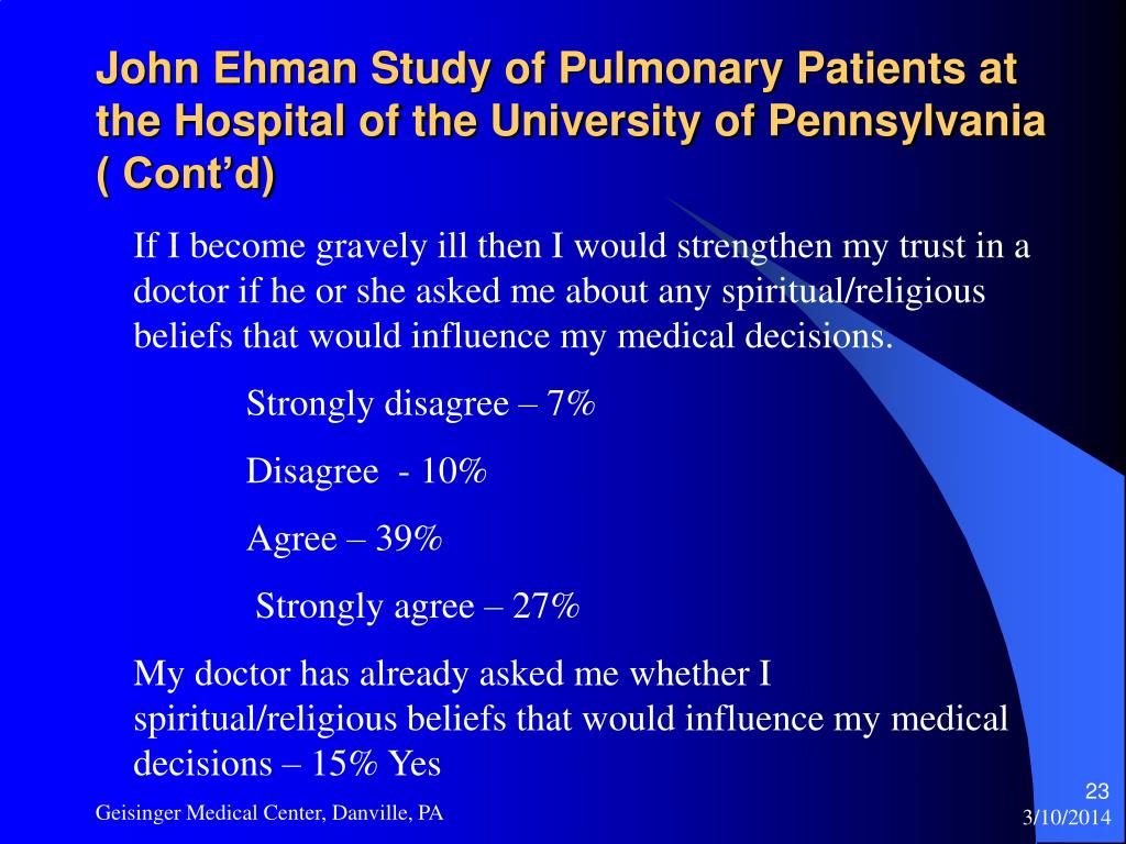 John Ehman Study of Pulmonary Patients at the Hospital of the University of Pennsylvania ( Cont'd)