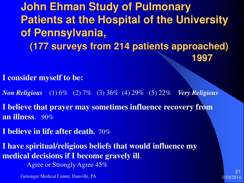 John Ehman Study of Pulmonary Patients at the Hospital of the University of Pennsylvania,